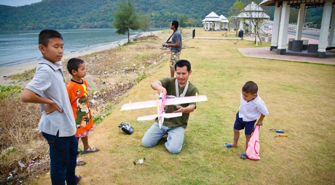 Playing Remote Plane in Paknam Khaem Nu